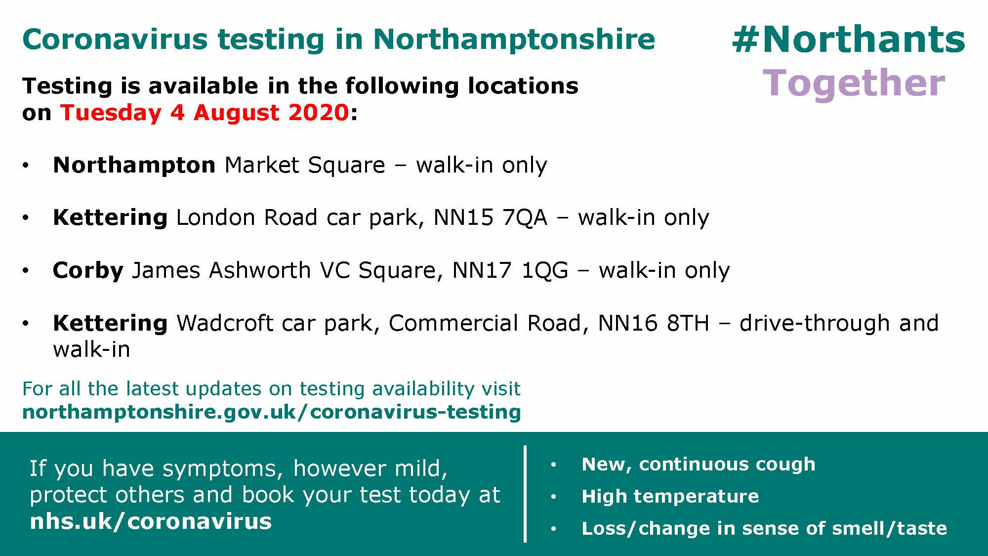COVID-19 testing availability in Northamptonshire 4th August