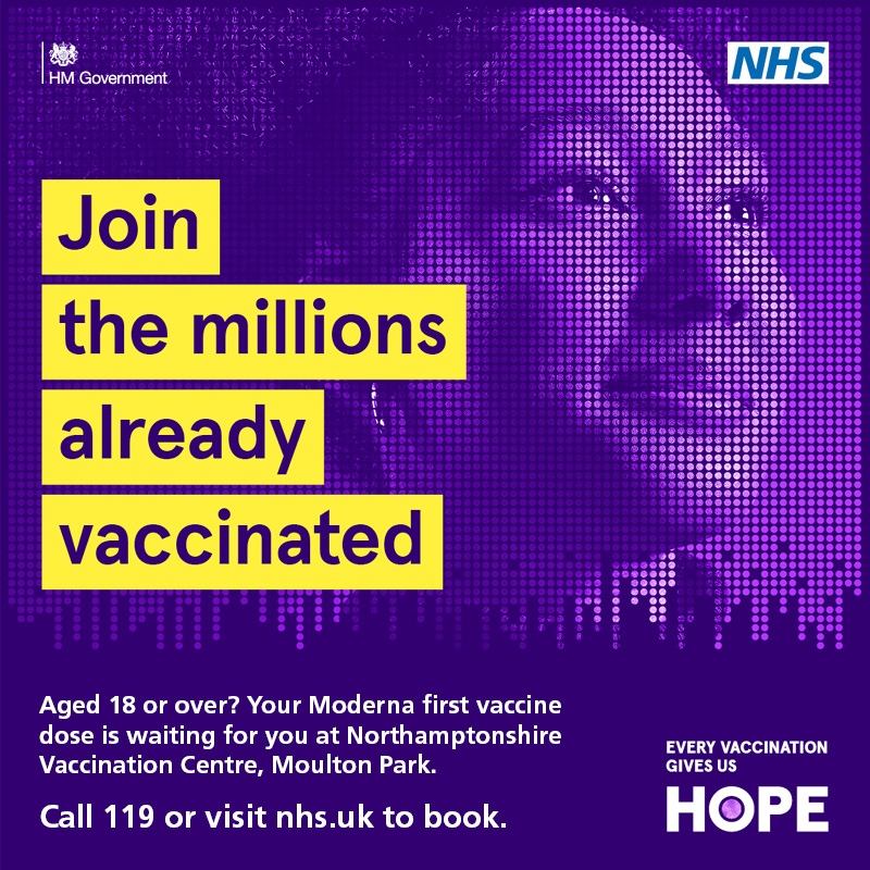 Drop-in vaccine sessions now hosted seven days a week at Northamptonshire Vaccination Centre